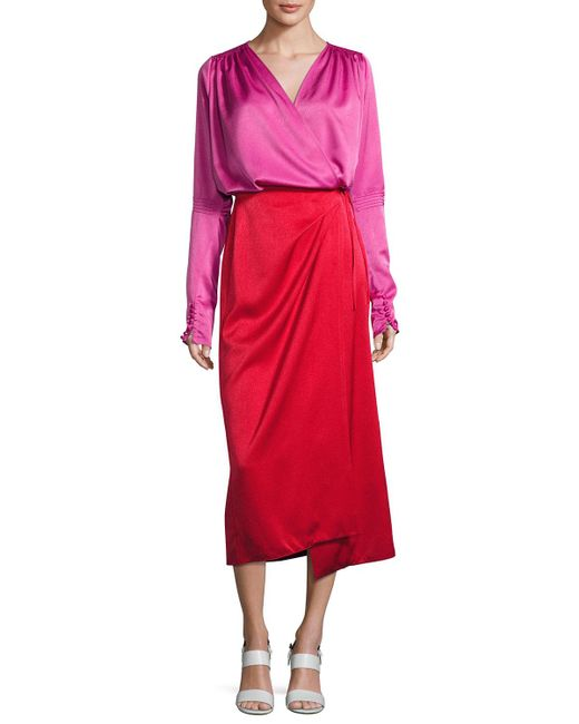Attico | Red Satin Bicolor Wrap Midi Dress | Lyst