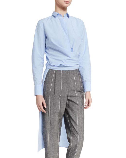 Brunello Cucinelli | Blue Wrap-waist High-low Tunic Shirt | Lyst