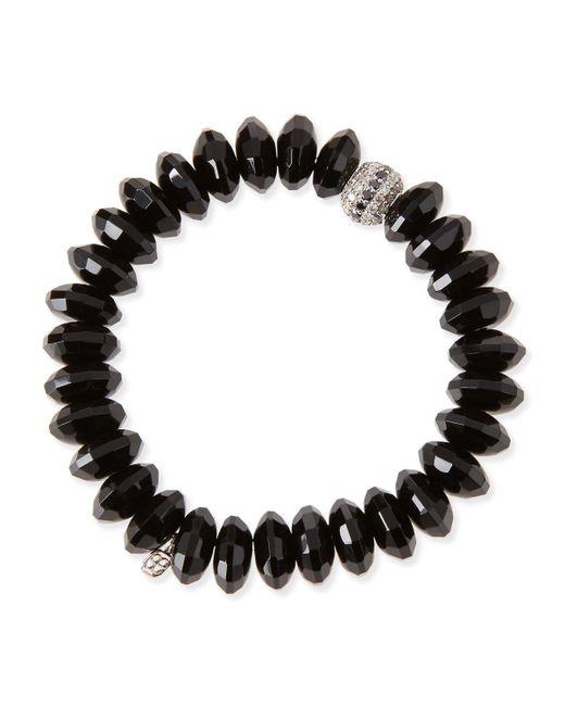 Sydney Evan | 12mm Faceted Black Agate Beaded Bracelet W/ 14k White Gold Diamond Disc | Lyst
