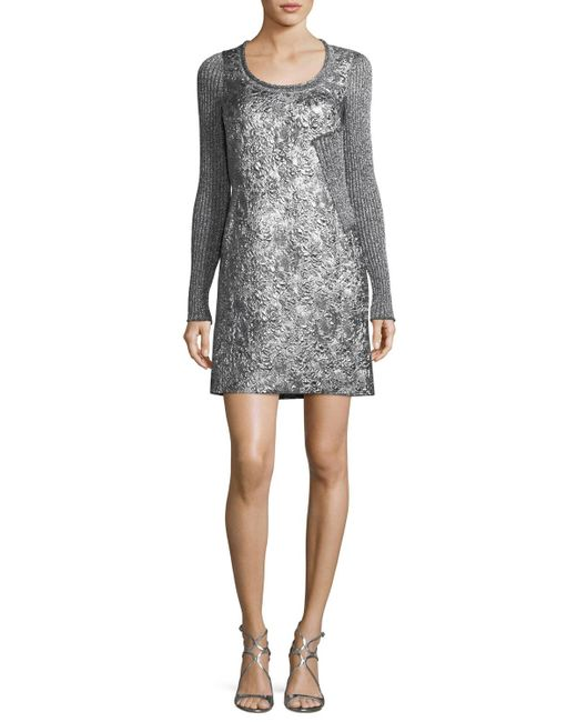 3.1 Phillip Lim - Gray Long-sleeve Metallic Rib-knit Combo Dress - Lyst