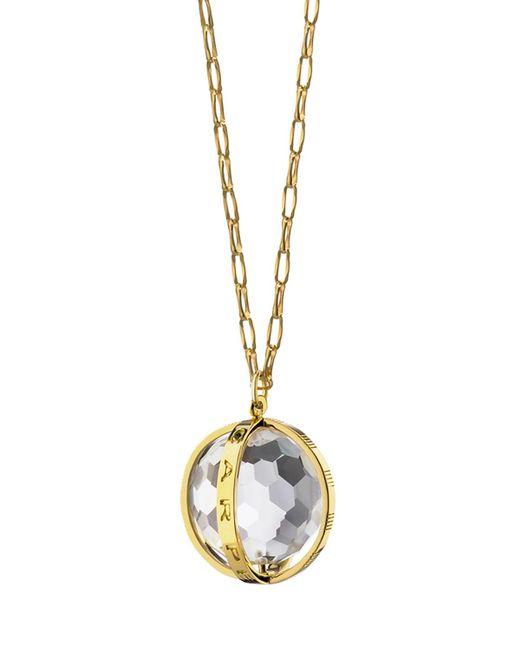 "Monica Rich Kosann   Metallic 18k Carpe Diem Rock Crystal Charm Necklace On 30"" Delicate Chain   Lyst"