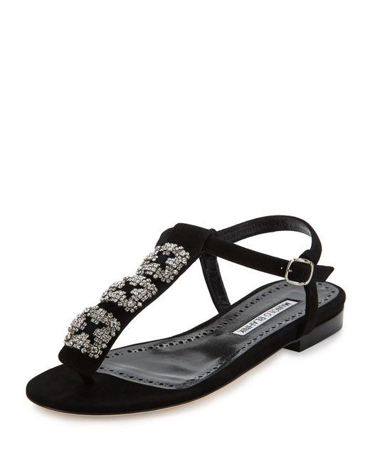 Manolo Blahnik | Black Ottolina Crystal T-strap Sandal | Lyst
