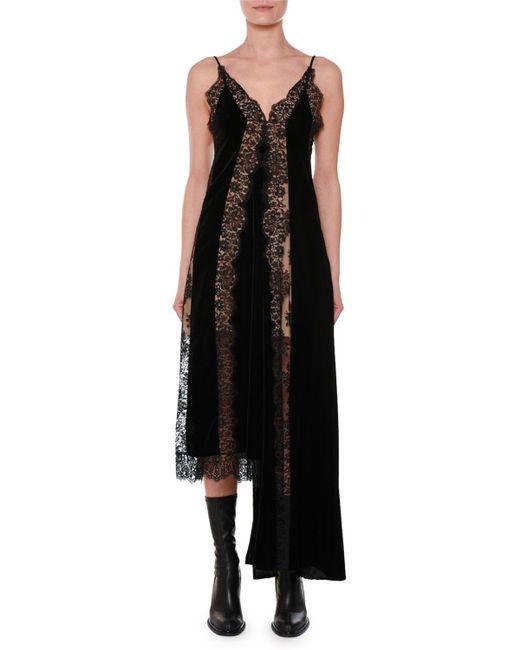 Stella McCartney - Black V-neck Sleeveless Velvet Lace A-line Midi Cocktail Dress With Asymmetric Hem - Lyst