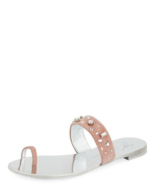 Giuseppe Zanotti - Pink Crystal-embellished Suede Toe-ring Sandal - Lyst
