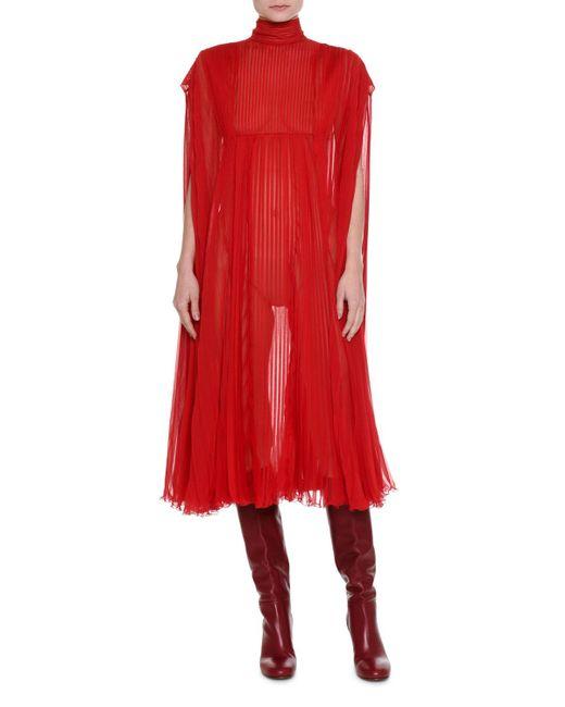 Valentino | Red Mock-neck Pleated Chiffon Dress | Lyst