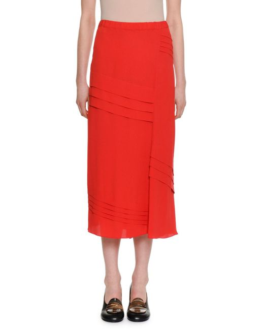 Marni - Red Elastic-waist A-line Silk-woven Ankle-length Skirt W/ Pleats - Lyst