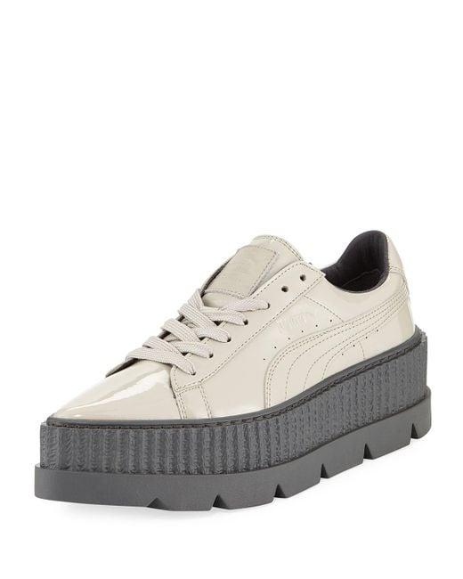 PUMA - Gray Patent Platform Creeper Sneaker - Lyst