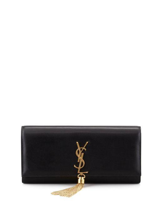 Saint Laurent | Black Cassandre Tassel Clutch Bag | Lyst