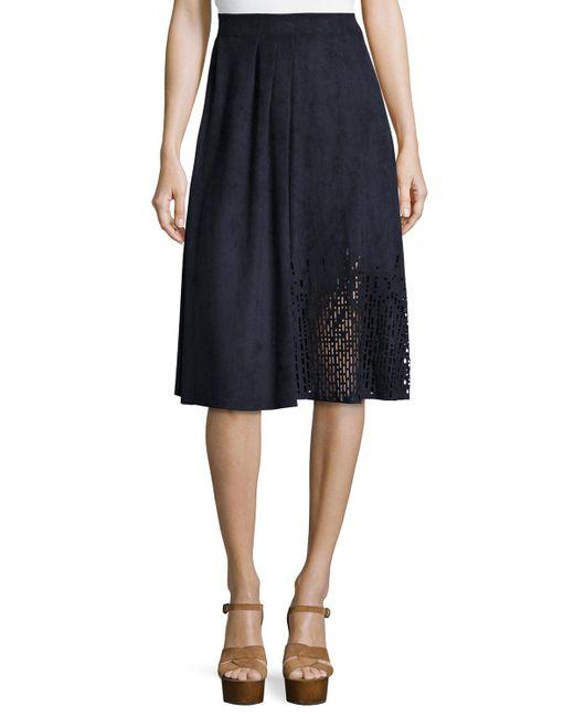 Tahari | Blue Lorie Pleated A-line Skirt | Lyst