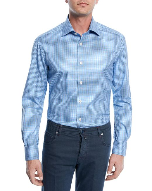 Kiton - Blue Checked Cotton Sport Shirt for Men - Lyst