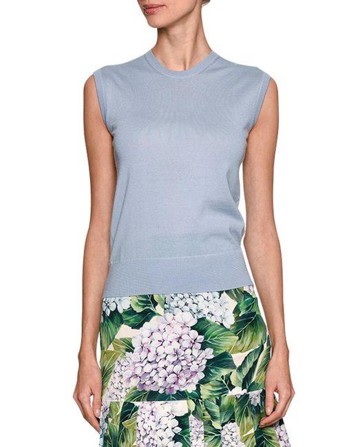 Dolce & Gabbana | Blue Crewneck Shell Sweater | Lyst