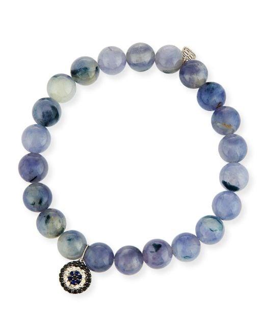 Sydney Evan - Blue 8mm Beaded Iolite Bracelet With Sapphire & Diamond Charm - Lyst