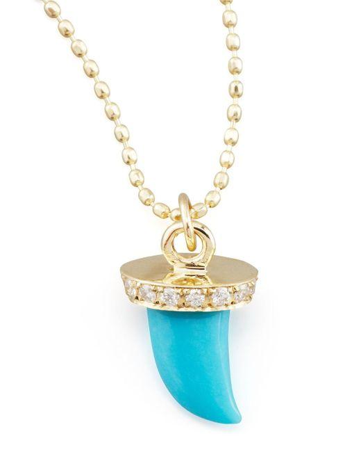 Sydney Evan | Metallic Small Diamond & Turquoise Horn Necklace | Lyst