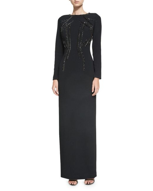 Pamella Roland | Black Crystal-beaded Stretch-crepe Column Gown | Lyst
