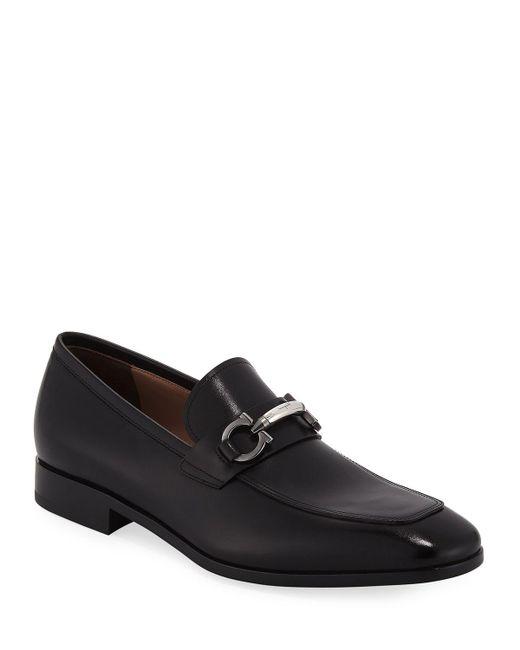 Ferragamo Black Men's Benford Gancini-bit Leather Loafer for men