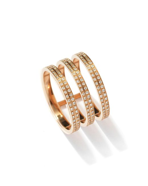 Repossi - Metallic Berbere Three-row Diamond Ring In 18k Rose Gold - Lyst
