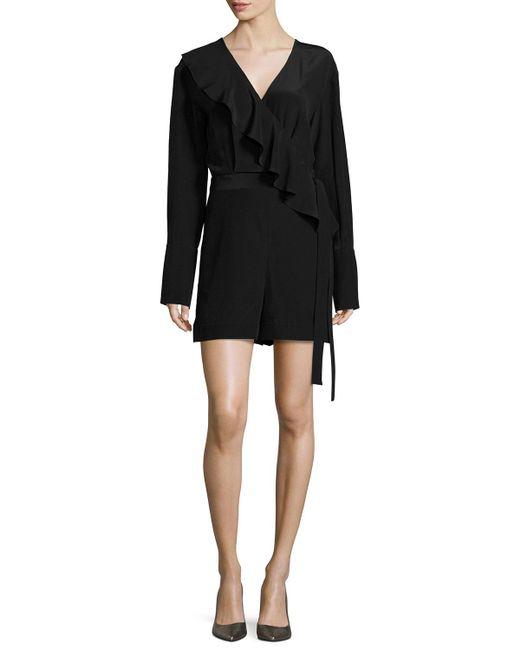 Diane von Furstenberg   Black Ruffle-trim Belted Silk Romper   Lyst