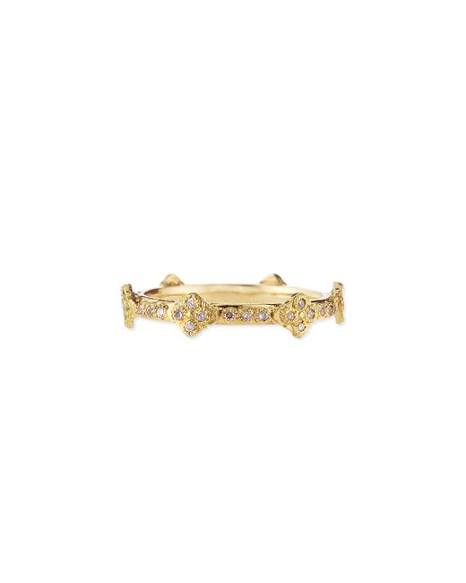 Armenta | Metallic 18k Yellow Gold Stackable Ring With Diamond Crivelli Crosses | Lyst