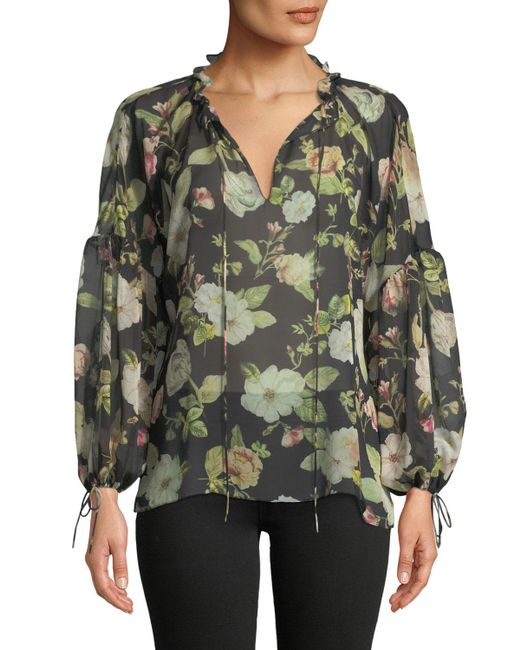 102c544cae4b45 ... Alice + Olivia - Black Julius Floral Silk Blouson-sleeve Tunic Top -  Lyst ...