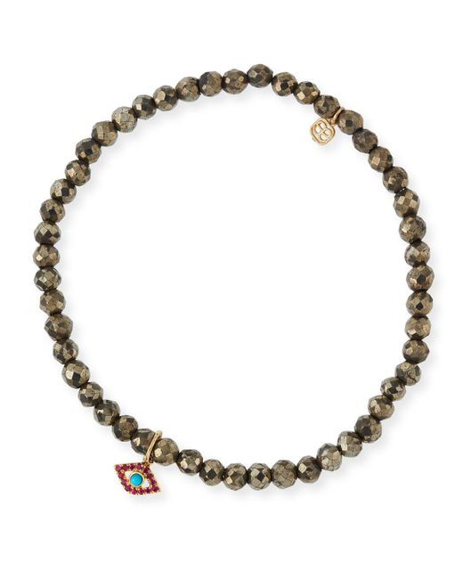 Sydney Evan - Metallic Champagne Pyrite Beaded Bracelet With Ruby & Turquoise Evil Eye Charm - Lyst