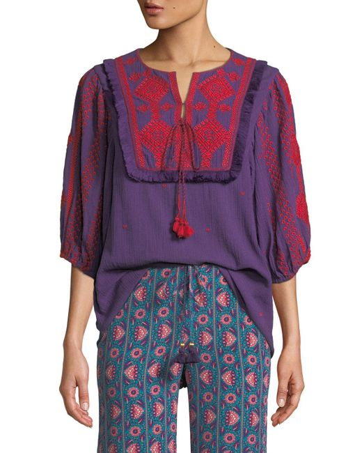 Figue Purple Sia Embroidered Cotton Gauze Top