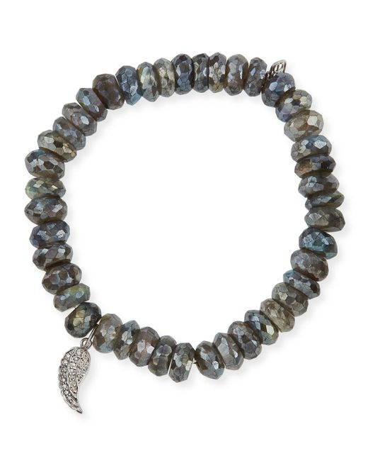 Sydney Evan - Gray 8mm Faceted Round Labradorite Beaded Bracelet With Diamond Wing Charm - Lyst