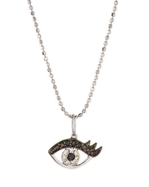 Sydney Evan - Metallic 14k White Gold Eyelash Evil Eye Pendant Necklace - Lyst