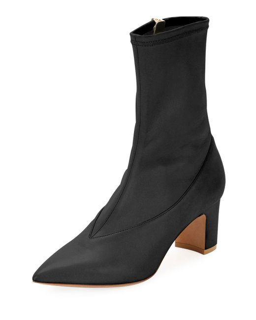 Valentino - Black Stretch-napa Point-toe Bootie - Lyst