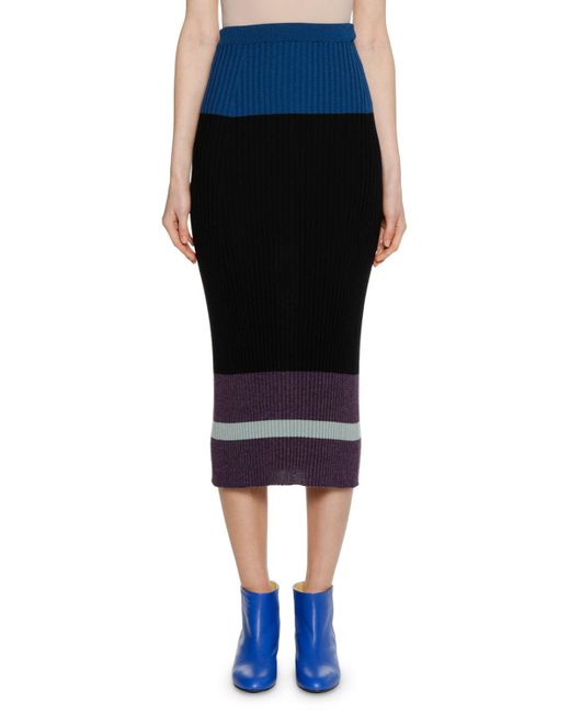 Marni - Black Colorblocked Fitted Ribbed Knit Wool-silk Midi Skirt - Lyst