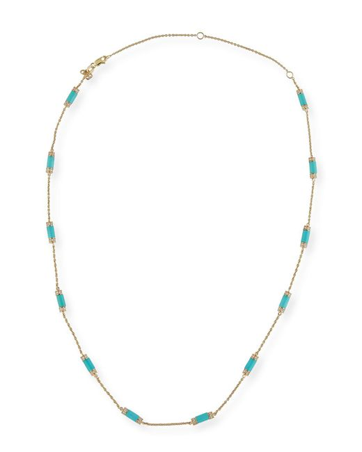 Sydney Evan | Metallic Turquoise Bar Station Necklace With Diamonds | Lyst