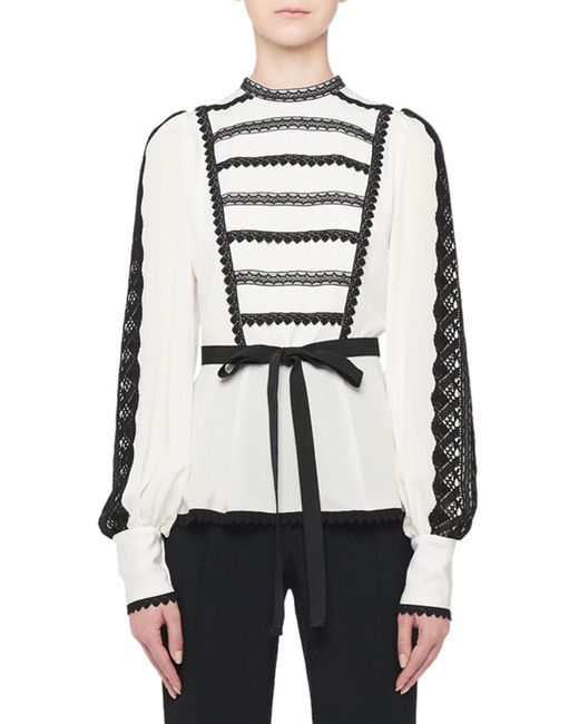 Andrew Gn White Embroidered Balloon Sleeve Silk Blouse