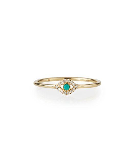 Sydney Evan - Metallic Single Turquoise Cabochon Evil Eye Ring W/diamonds - Lyst