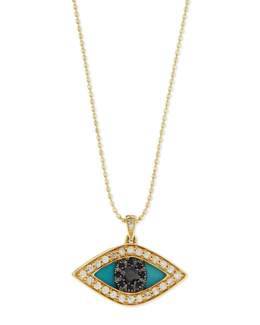Sydney Evan - Metallic Diamond Evil Eye Swivel Pendant Necklace - Lyst