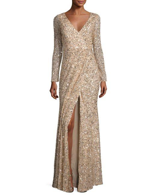 Rachel Gilbert | Metallic Long-sleeve Sequined V-neck Gown | Lyst