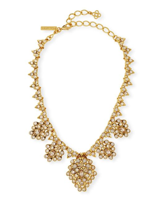 Oscar de la Renta | Metallic Teardrop Framed Crystal Statement Necklace | Lyst
