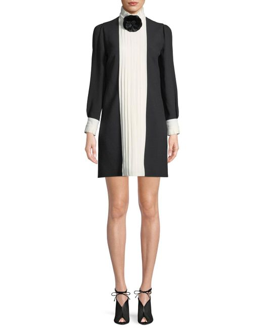 Andrew Gn - Black Long-sleeve Colorblock & Pleated Crepe Dress W/ Flower At Neck - Lyst