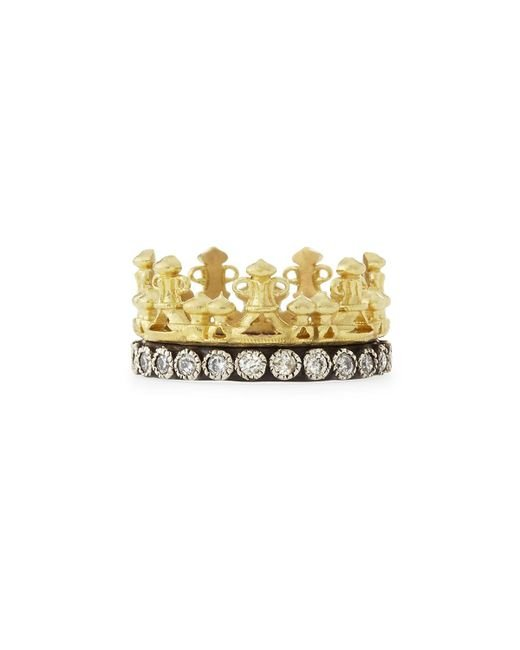 Armenta | Metallic 18k Gold & Midnight Diamond Crown Ring | Lyst
