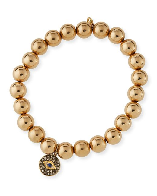 Sydney Evan - Metallic 8mm Golden Beaded Bracelet With Diamond Eye Medallion Charm - Lyst