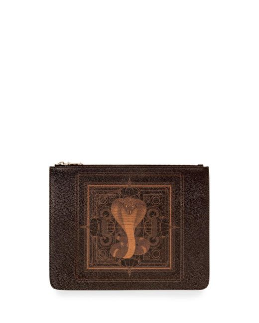 Givenchy - Black Men's Coated Canvas Cobra-print Pouch for Men - Lyst