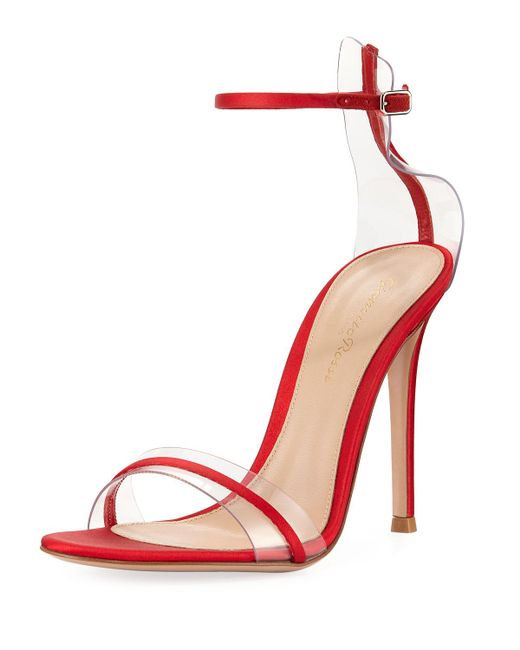 Gianvito Rossi - Red Plexi Satin Ankle-strap 105mm Sandal - Lyst