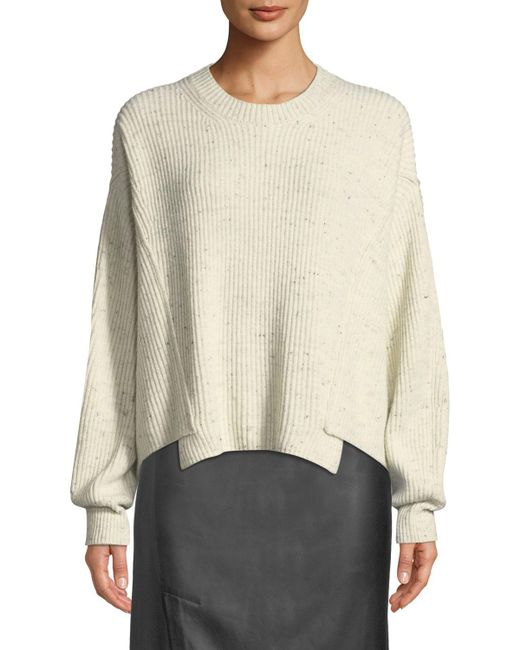 Vince - Natural Paneled Crewneck Pullover Sweater - Lyst