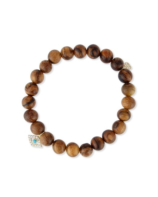 Sydney Evan - Brown Wooden Bead Bracelet W/ 14k Gold Diamond Evil Eye Charm - Lyst