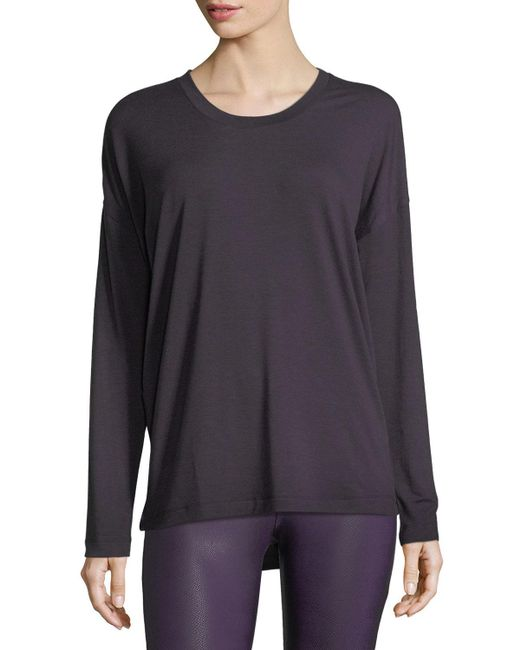 Onzie - Purple Braid-back Long-sleeve Performance Top - Lyst