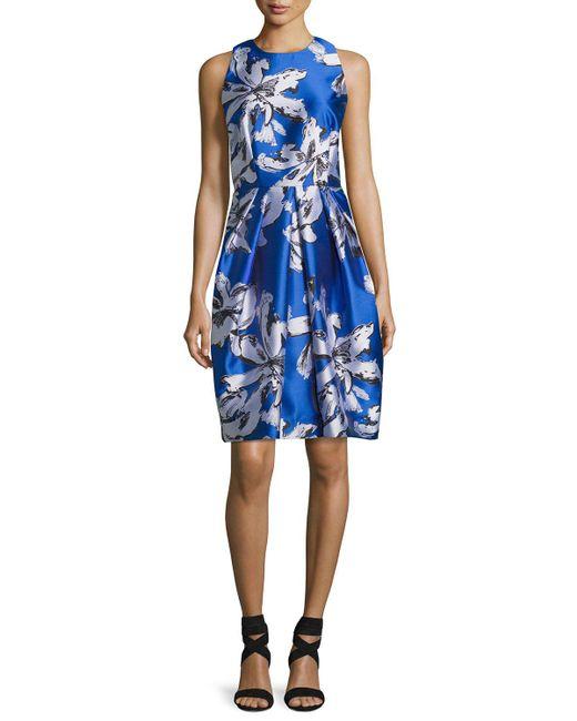 Carmen Marc Valvo | Blue Sleeveless Floral Silk Satin Cocktail Dress | Lyst