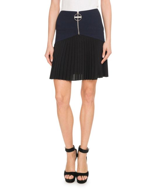 Givenchy - Blue Front-zip Heavy Wool Crepe Skirt W/ Pleated Bottoms - Lyst