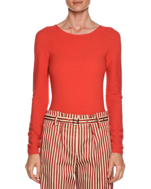 Giorgio Armani - Red Long-sleeve Crewneck Fitted Top - Lyst