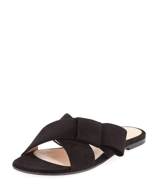 Gianvito Rossi - Black Flat Suede Ribbon Slide Sandal - Lyst