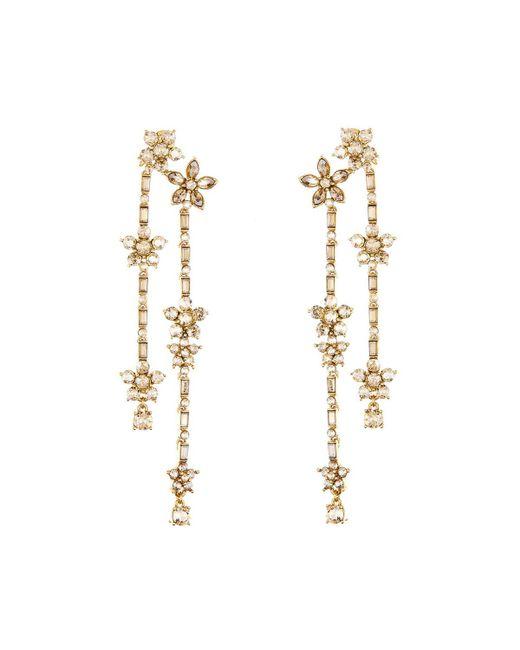 Oscar de la Renta - Metallic Floral Crystal Drop Earrings - Lyst