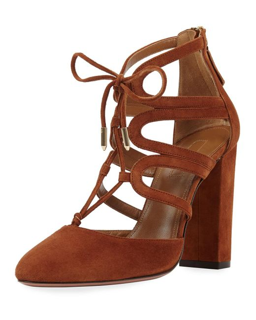 Aquazzura - Brown Holli Suede Curvy-caged Pump - Lyst