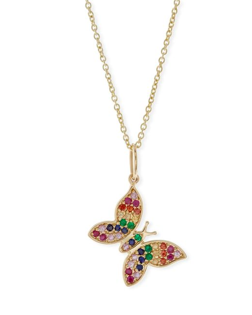 Sydney Evan - Metallic Anniversary Rainbow Butterfly Pendant Necklace - Lyst